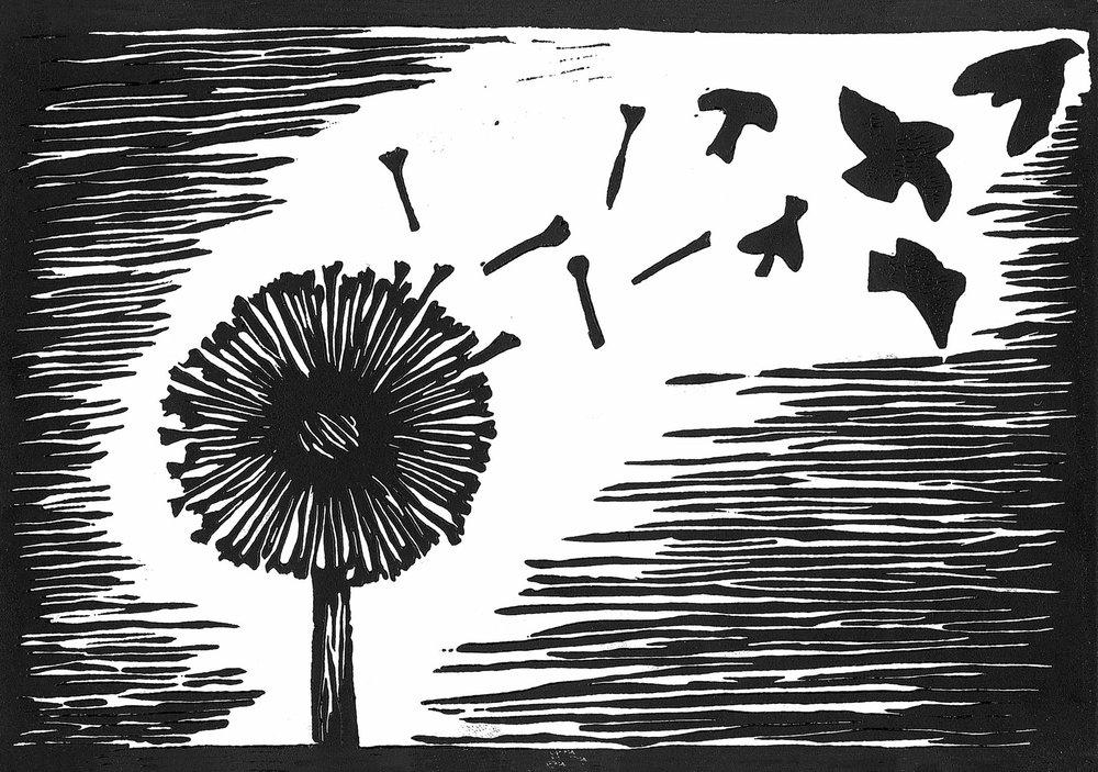 "Allie Arnold '18, Fort Worth Country Day Art Fundamentals  Untitled  2015 Linoleum cut 6.5"" x 9.375"""