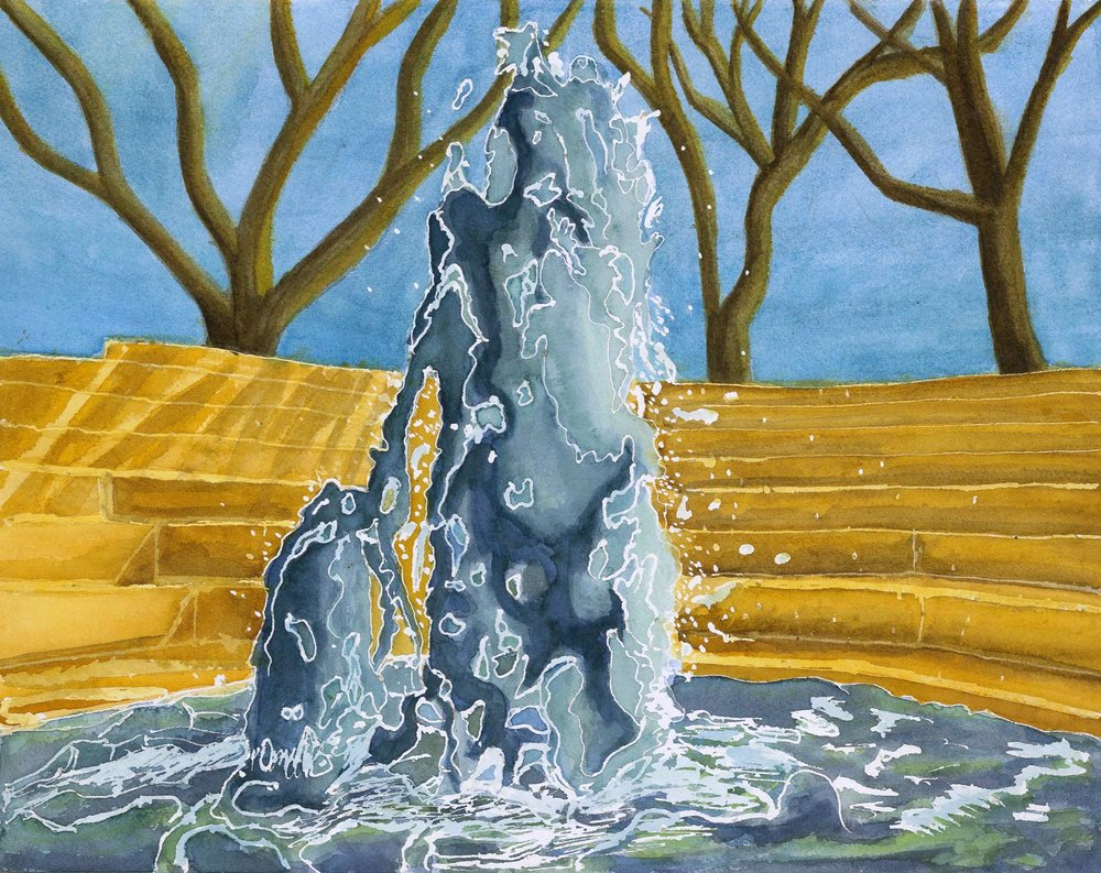 "Payton Childress '19, Fort Worth Country Day Painting & Drawing I  Spring Fountain  2017 Watercolor 15"" x 19.5"""
