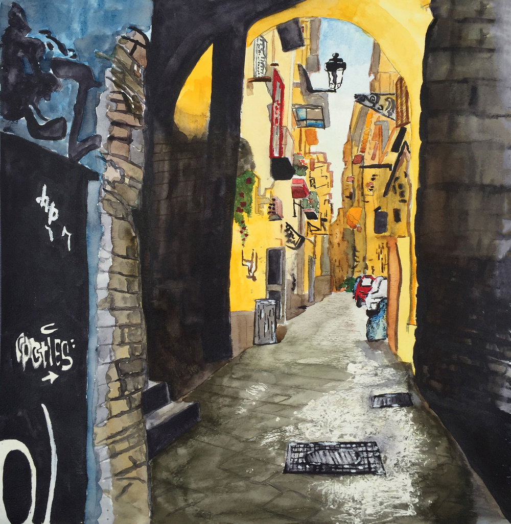 "Anna Puff '17, Fort Worth Country Day AP Studio Art: 2-D Design  Italian Alleyway  2016 Watercolor 18.5"" x 17.5"""