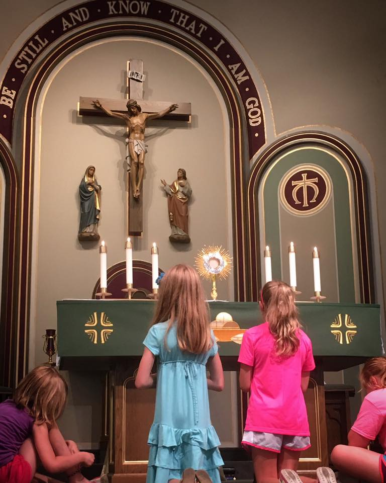 Adoration of the Blessed Sacrament is built into the Totus Tuus weekly schedule.