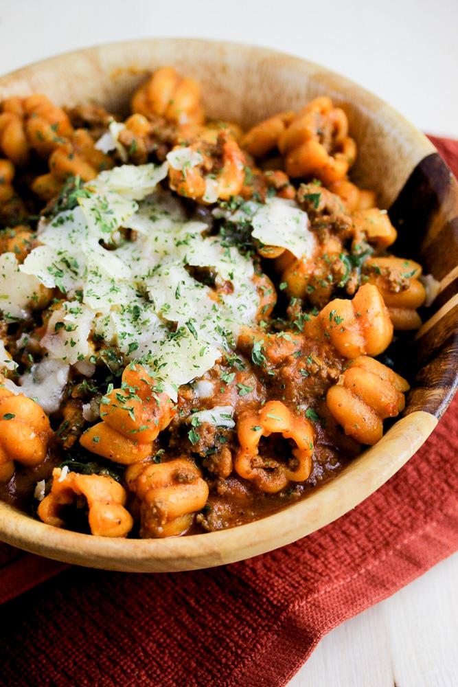 Ground Beef & Parmesan Reggiano Fall Zuchette Pasta