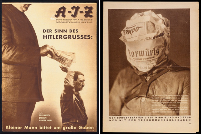 "Credit: John Heartfield. Left: ""  The Meaning of the Hitler Salute: Little Man Asks for Big Gifts""; right, ""Reading the Bourgeois Press Makes you Blind"""