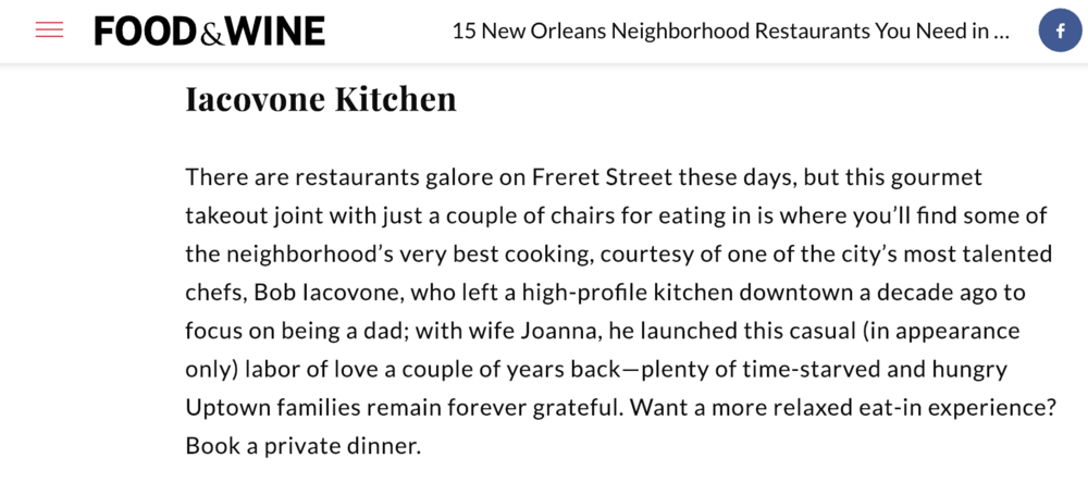Featured in Food & Wine's Best Local Secret Restaurants in New Orleans for 2019