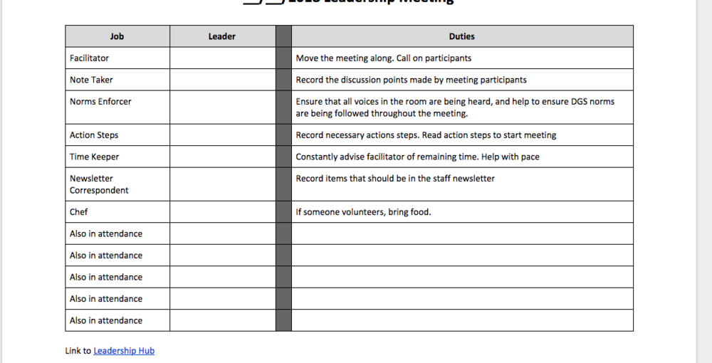 Leadership Meeting Template