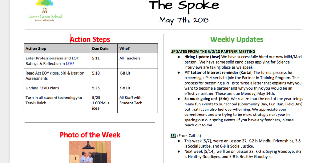 Staff Newsletter Example