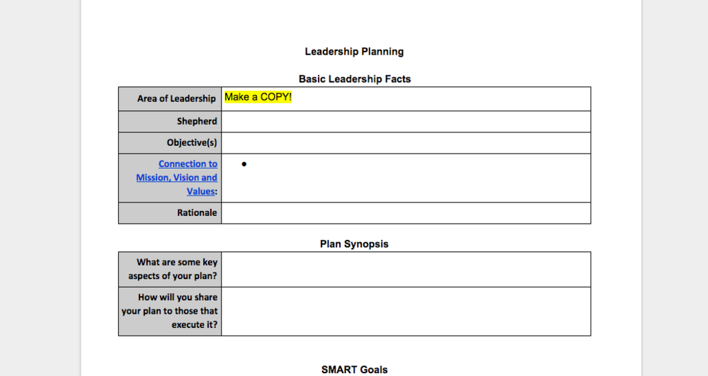 Leadership Planning Template