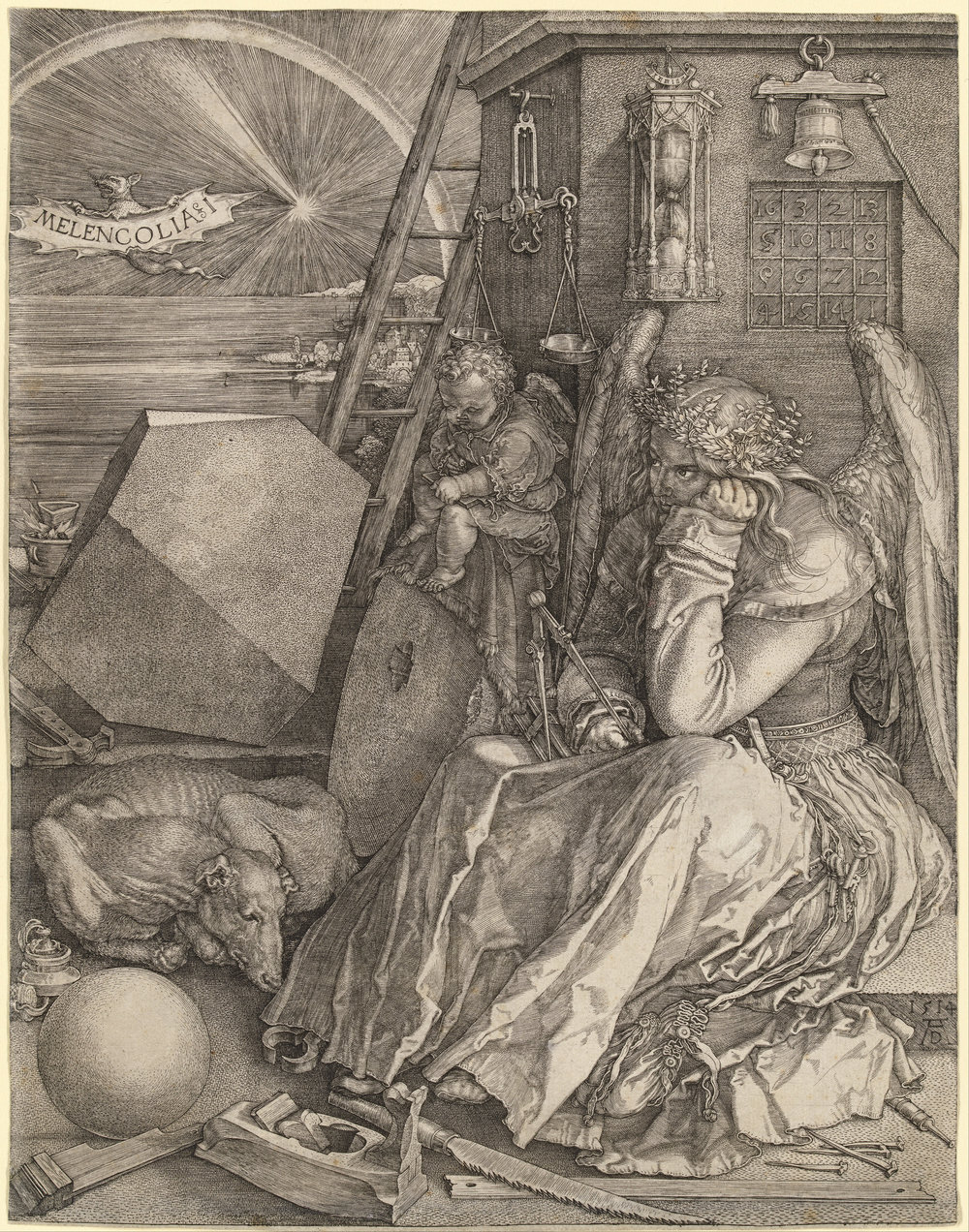 "Albrecht Dürer.  Melencolia I . Engraving. 9 7/16 x 7 5/16"". 1514."