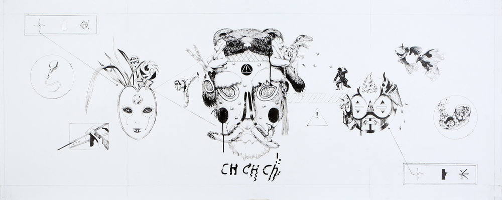 CH CH Ch,2018 Black ink on paper 62.5x154cm