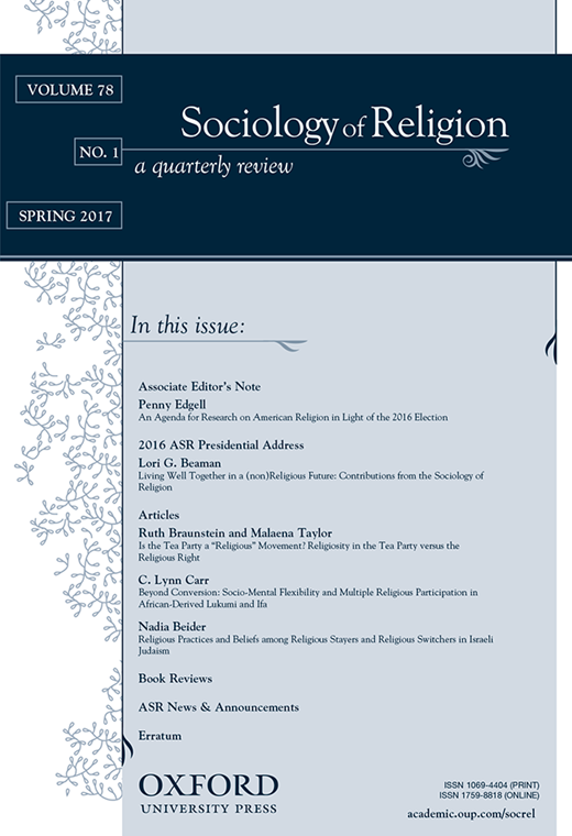 Abstract - This article examines the role of religion in shaping environmental action by bringing contemporary arguments in cultural sociology to bear on longstanding debates about the role of religion in environmental care. Drawing on 169 in-depth interviews from 22 Christian, Muslim, and Jewish congregations in Houston and Chicago, we examine conditions under which religion enables and constrains environmental action. Findings reveal that religious institutions can motivate members' environmental actions when they cultivate not only declarative environmental beliefs but also nondeclarative environmental practices. Religion may inhibit environmental concern when respondents believe environmental commitment undermines their religious beliefs, but such justifications are disconnected from the actual environmental practices they nevertheless engage in. We also find that religious individuals largely attribute motivations for their environmental action to institutions other rather than religion. Our findings shed new theoretical light on the mixed results that characterize research on religion and the environment.