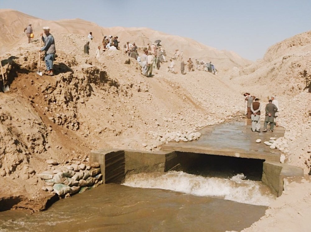 An irrigation canal constructed through out assess creation project