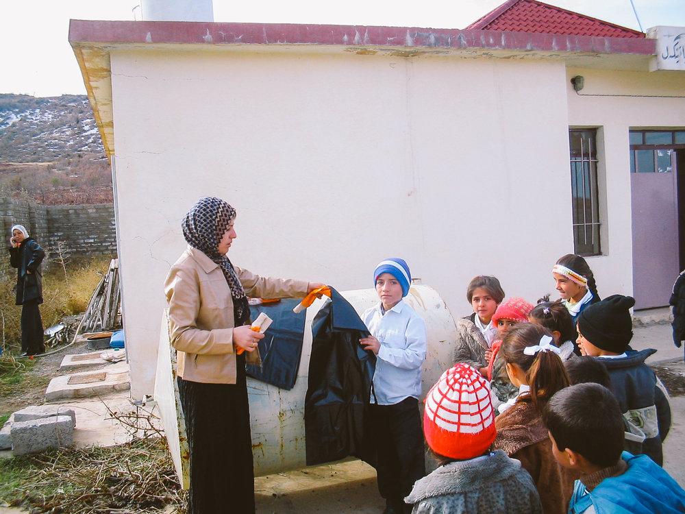 School children participating in rubbish collection