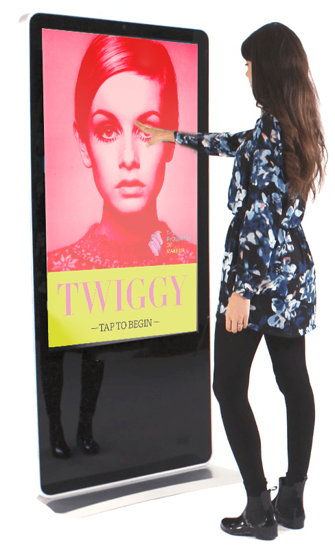 woman using the Twiggy kiosk
