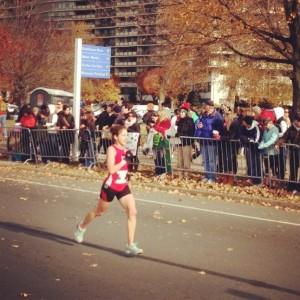 Karen near the finish of her sub-3:00 marathon (Philadelphia, 2012).