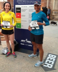 Lynda Mules and Yvetta Barner proudly display their Brooklyn Half numbers at the pre-race party.