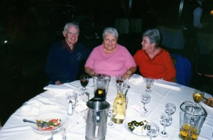 Myrna, at center, with husband Frank and Joann Guralnick. Thanks to Ron Rice of the Shore Road Striders.