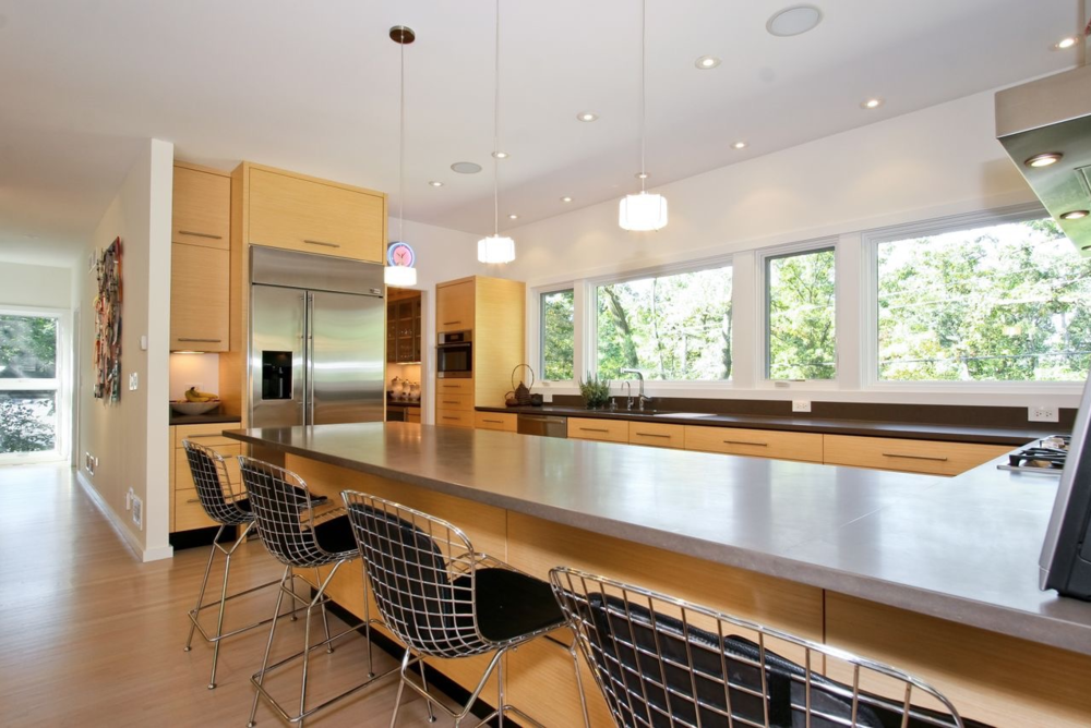 Keck and Keck mid-century modern inspired kitchen. Clean lines with nature in view.