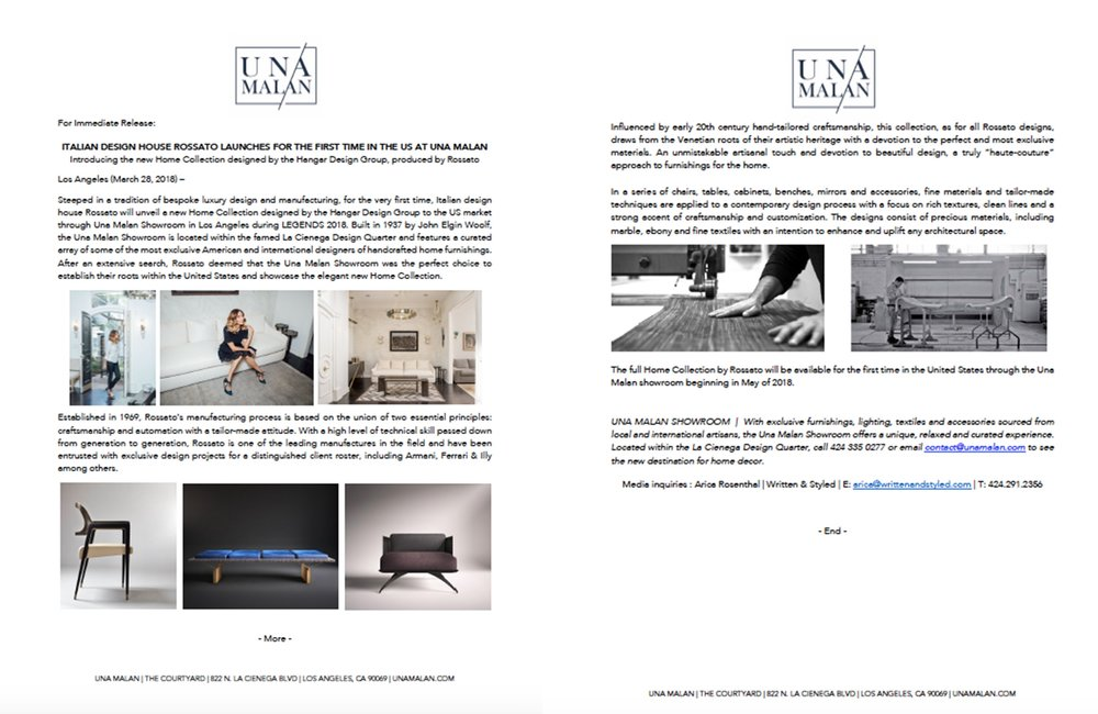 Press Release: Italian Design House Rossato Launches for the first time in the U.S. at Una Malan