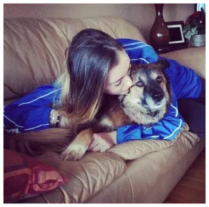 Reuniting with my dog (while wearing one of my brother's hoodies – my true guardian angel)