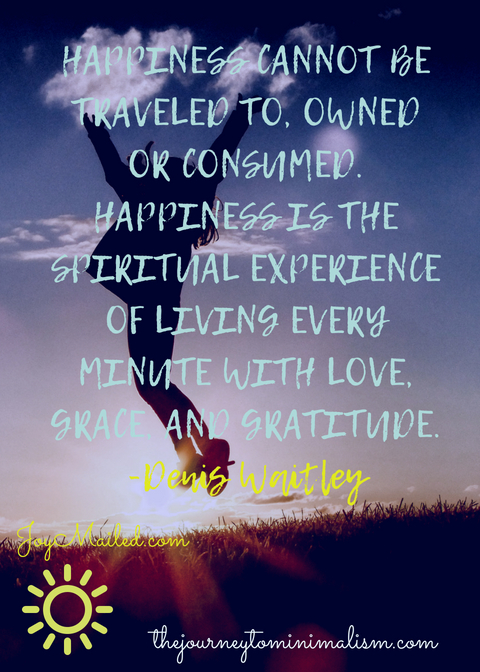HAPPINESS CANNOT BE TRAVELED TO, EARNED, OWNED, WORN, OR CONSUMED. HAPPINESS IS THE SPIRITUAL EXPERIENCE OF LIVING EVERY MINUTE WITH LOVE, GRACE, AND GRATITUDE. -DENIS WAITLEYJOYMAILED.COM.jpg