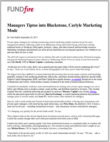 Managers Tiptoe into Blackstone, Carlyle Marketing Mode.