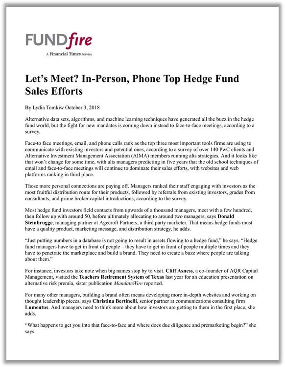 Top Hedge Fund Sales Efforts