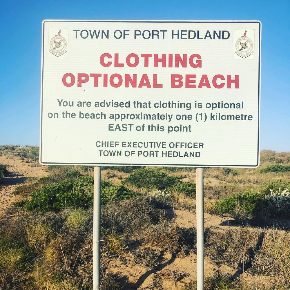 clothing optional beach WA Port Hedland