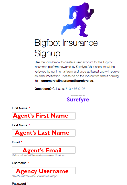 Bigfoot Signup