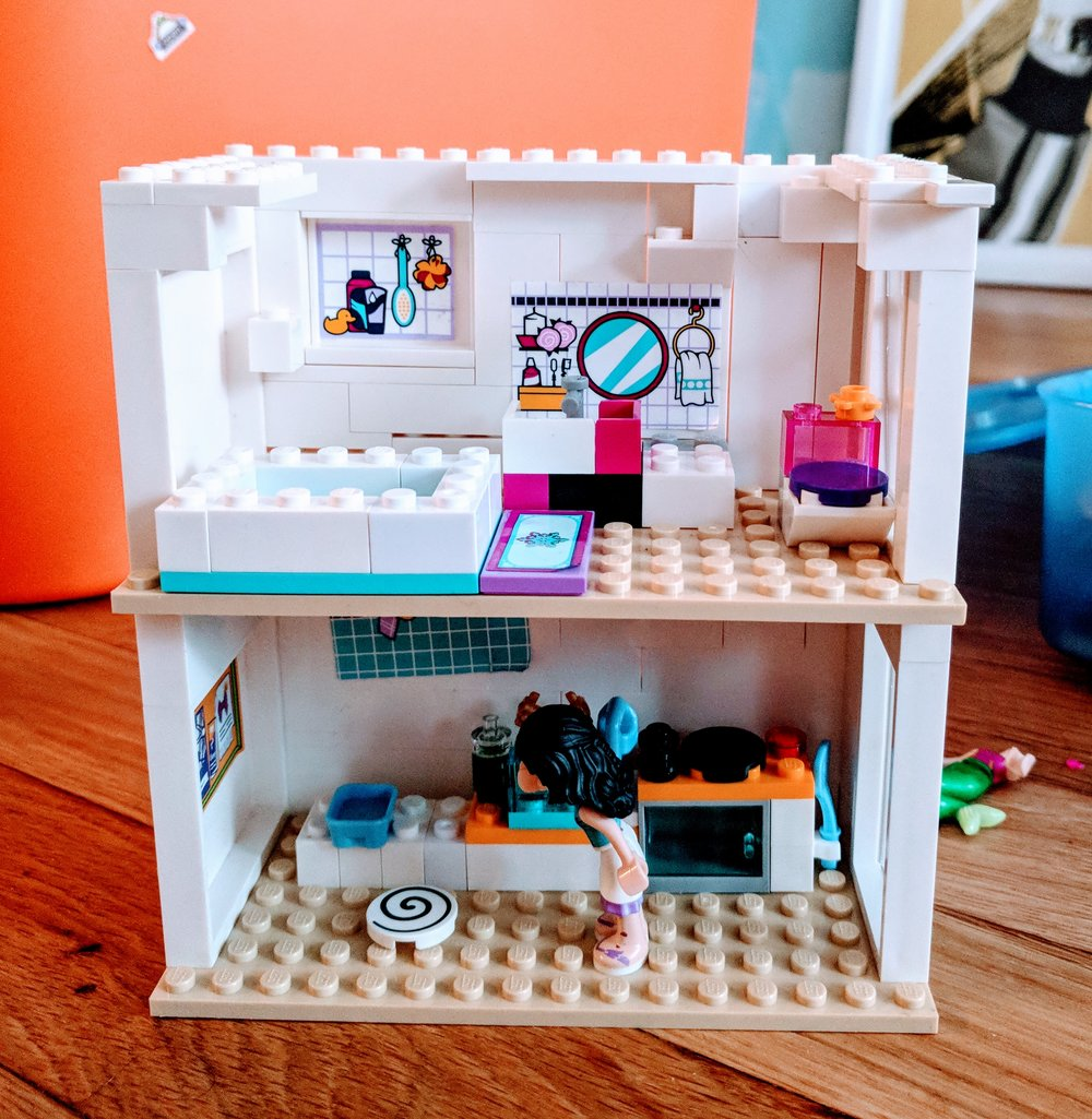 The kitchen and bathroom of a  Lego House  I am building.