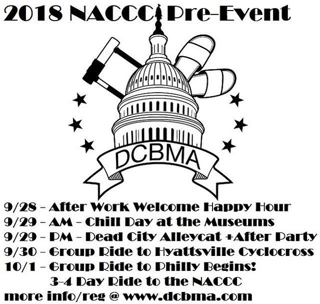 2018 NACCC pre-event in DC! More info at website. Email or DM with any questions concerns. Will keep updating info as event gets closer