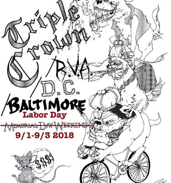 saturday  9/1/18  Richmond       sunday  9/2/18  DC       monday  9/3/18  Baltimore