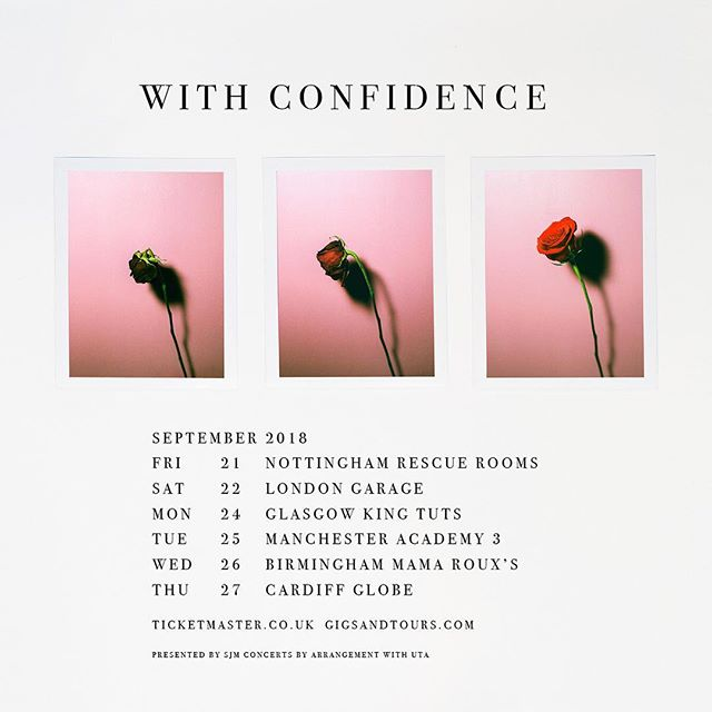 We're UK bound in September! 🇬🇧 A special pre-sale for our UK tour starts tomorrow @ 9am GMT. Pre-sale bundles include a show ticket + 'Love and Loathing' on exclusive signed CD or LP. General on sale is Friday. See you soon, friends 🌹 Pre-sale link: withconfidence.pmstores.co/