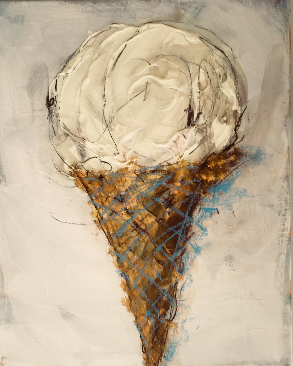 Series of 48 ice cream cones, various original canvas and reproductions for The Kettle Gallery show, Deep Ellum Dallas in September all month starting Sept 13 at the Kettle on Main St. Dallas