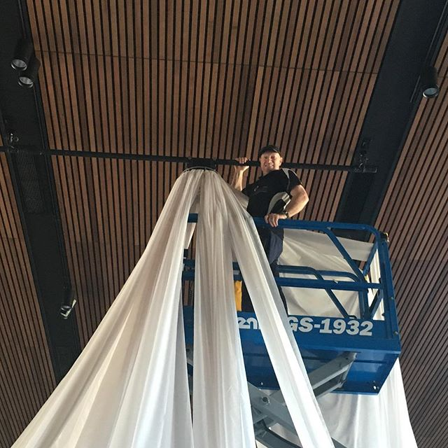 A ceiling drape installation, swipe to see the transformation #specialoccasionswa #ceilingdrapes #perthevents #eventstyling #ceilingsilks #perthbrides #weddingstyling #events #theming