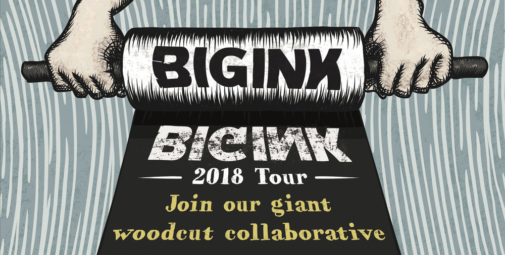 Selected Artist for BIG INK Print Initiative - July 2018Chosen alongside 11 other artists to create an original woodblock print. BIG INK is an organized network of creative thinkers focused on promoting the art of large-scale woodblock printing. BIG INK works by establishing a temporary print shop on site at partnership organizations. Artist Image Resource will be the printing site for myself and the other 11 artists. Find the printing event here.