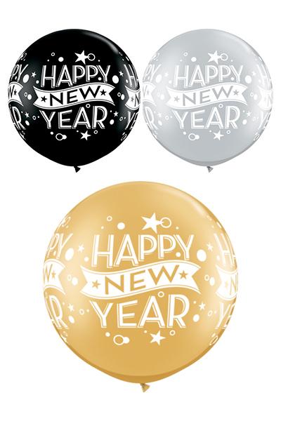 Giant Happy New Year Balloon Un Inflated Bang Bang Balloons