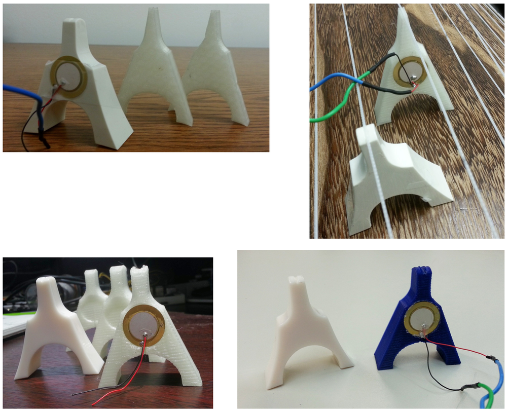 3D printed koto bridge prototypes. From above left to right. prototype version 1, 2, 3, and 4