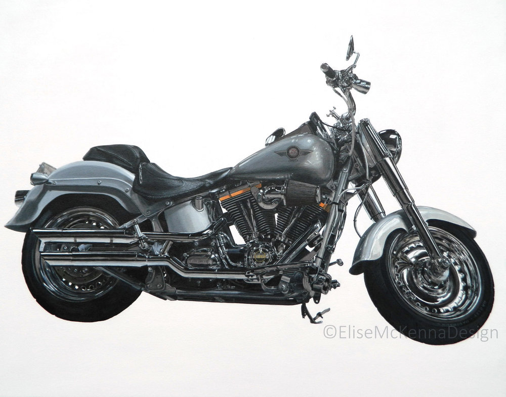 """Misguided"" - a custom 25th anniversary edition Harley-Davidson built in San Diego. The painting was commissioned by the owner of SD Harley, who then refused to pay the agreed price. I am holding the original for sale to the right buyer.   original: acrylic on canvas; 30 x 20 x 1.5"" ($2500) ; prints available for purchase"