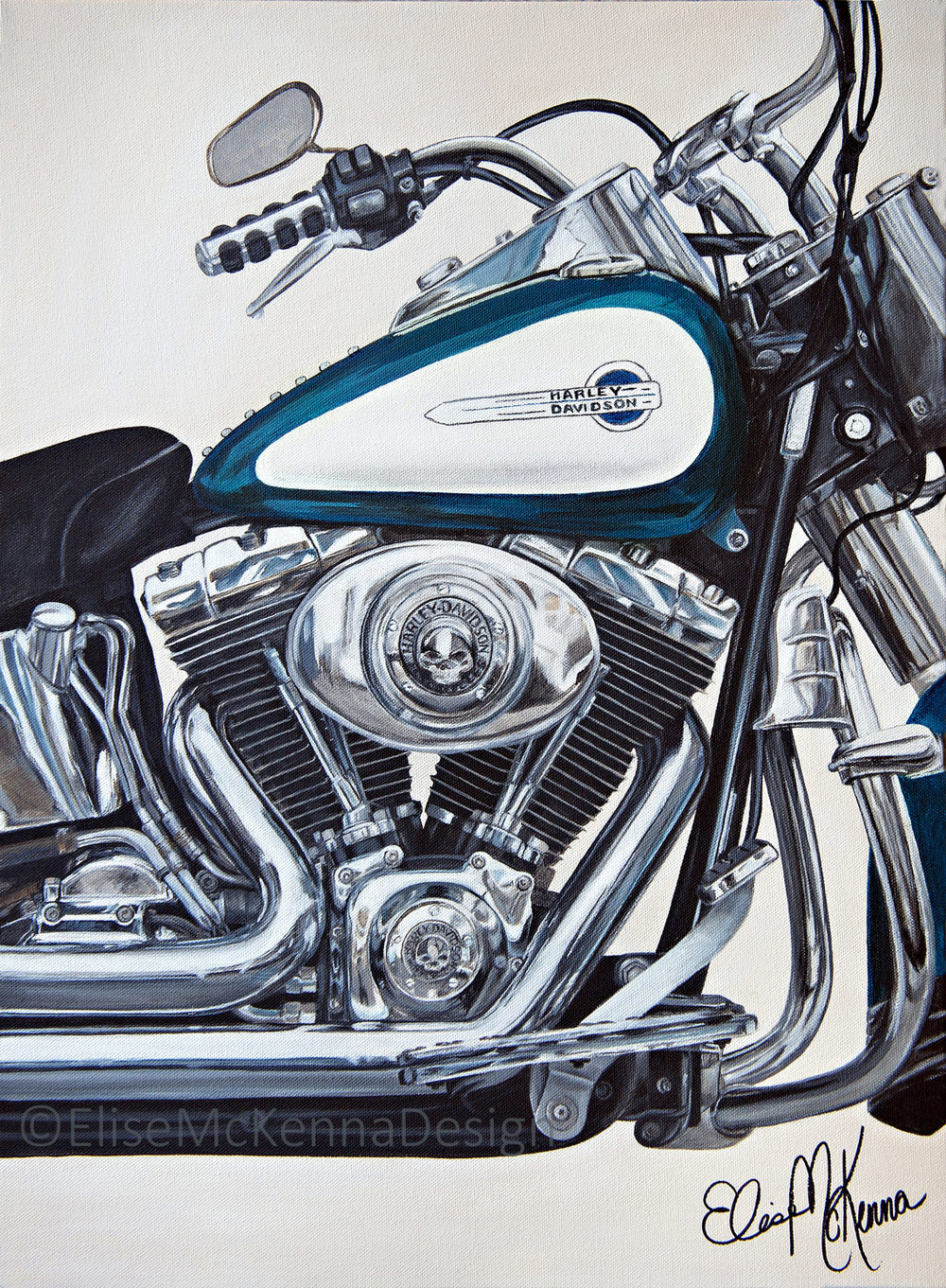 """Aqua"" - a close-up of a Harley-Davidson motorcycle engine   original: acrylic on canvas; 18 x 24 x .5"" ($1800) ; prints available for purchase"