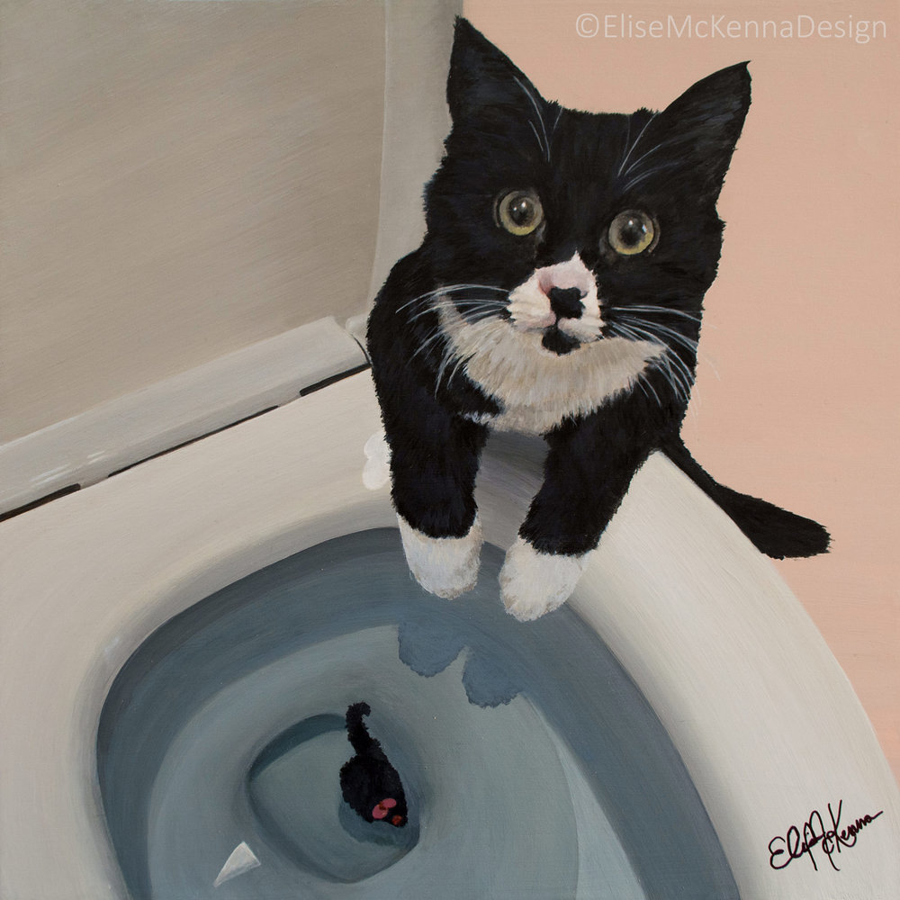 Bianca; domestic short hair;  acrylic on mounted aquabord; 12 x 12 x 1""