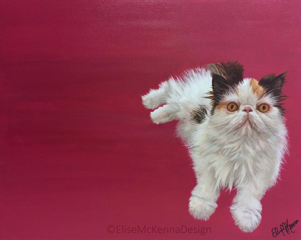 Graveskull (@graveskullthepersian); Persian;  acrylic on canvas; 18 x 12 x .5""