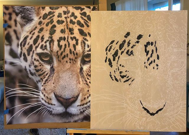 "Next piece already in work!! So excited to finally get to work on another wildlife piece. How stunning is this jaguar? Thanks @wildlifereferencephotos for the photo which I cropped down in a similar fashion to the ""Lion Painting"" in my previous posts. 🐯🦁 . . . #art #wip #artist #sandiegoartist #jaguar #wildlifeart #photorealism #hyperrealism #artstagram #artoftheday #artoninstagram #artofinstagram #fineart #emergingartist #entrepreneur #selftaught #entrepreneurs #sandiegoentrepreneur #acrylicpainting #customart #instaart #instaartwork #painter #artwork #workinprogress #howtopaint #entrepreneurlife #instaartoftheday #jaguarpainting"