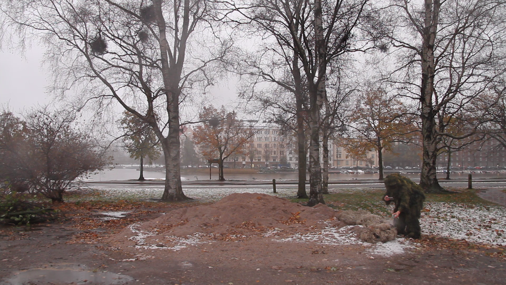 still from video documentation: public intervention in Helsinki, Finland