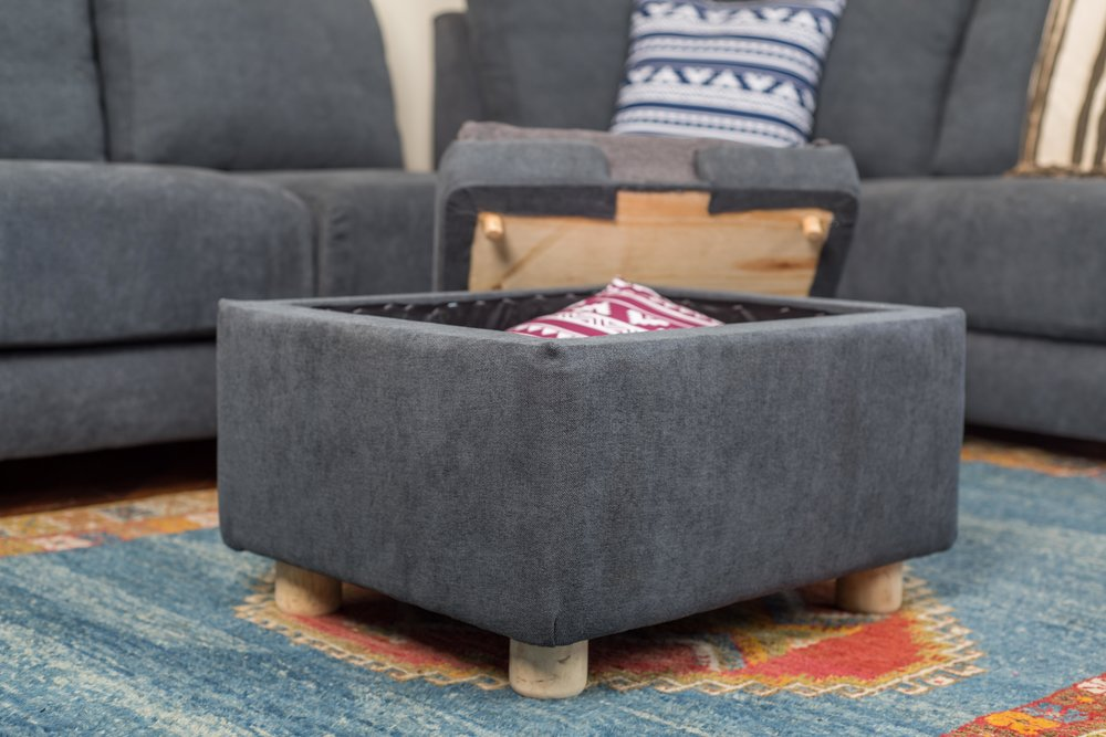 Foostool with storage, removable pillows & table
