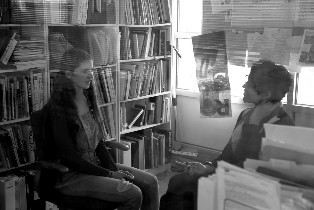 Flávia interviewing students about their Digital Stories