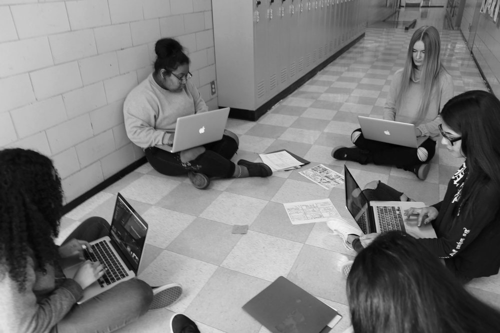 Students working on their Digital Stories in a group