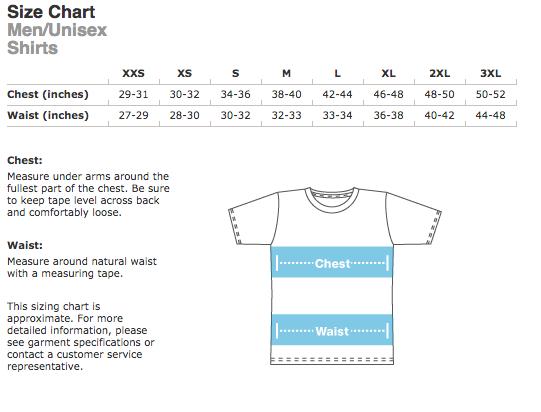shirt size chart