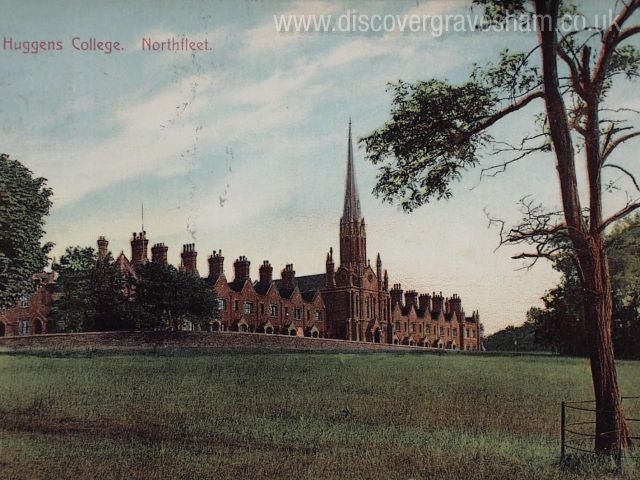 Huggins College - regular terraces of gables distinctive silhouette and distinctive feature chimneys - Douglas Grierson postcard collection, Discover Gravesham http://www.discovergravesham.co.uk/