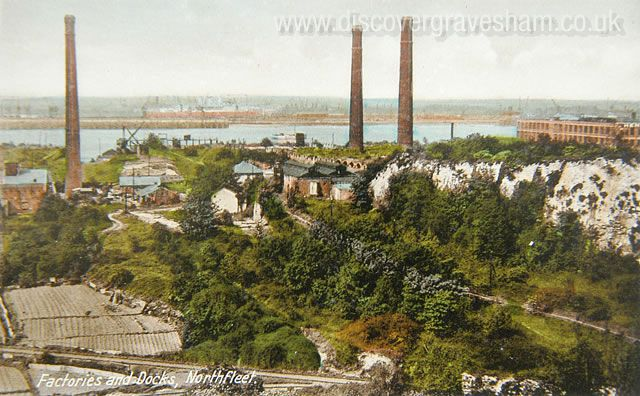 Juxtaposition industry and chalk quarries Northfleet - Douglas Grierson postcard collection, Discover Gravesham http://www.discovergravesham.co.uk/postcards-of-gravesham/category/6-