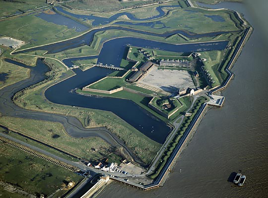 Tilbury Fort - 5 sided geometric form and a series of dykes and land forms - Source: Bing maps