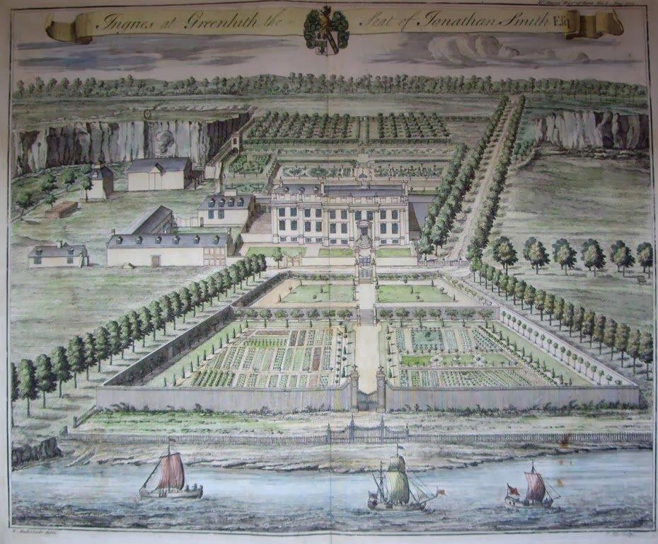 The original Ingress Park, with the landscape gardens laid out down to the water of the Thames in the foreground.